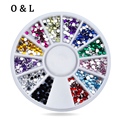 3d Nail Art Rhinestone Wheel 2mm Mixed Colors Flatback Glitter Nail Tips Gems Strass Nail Stylish