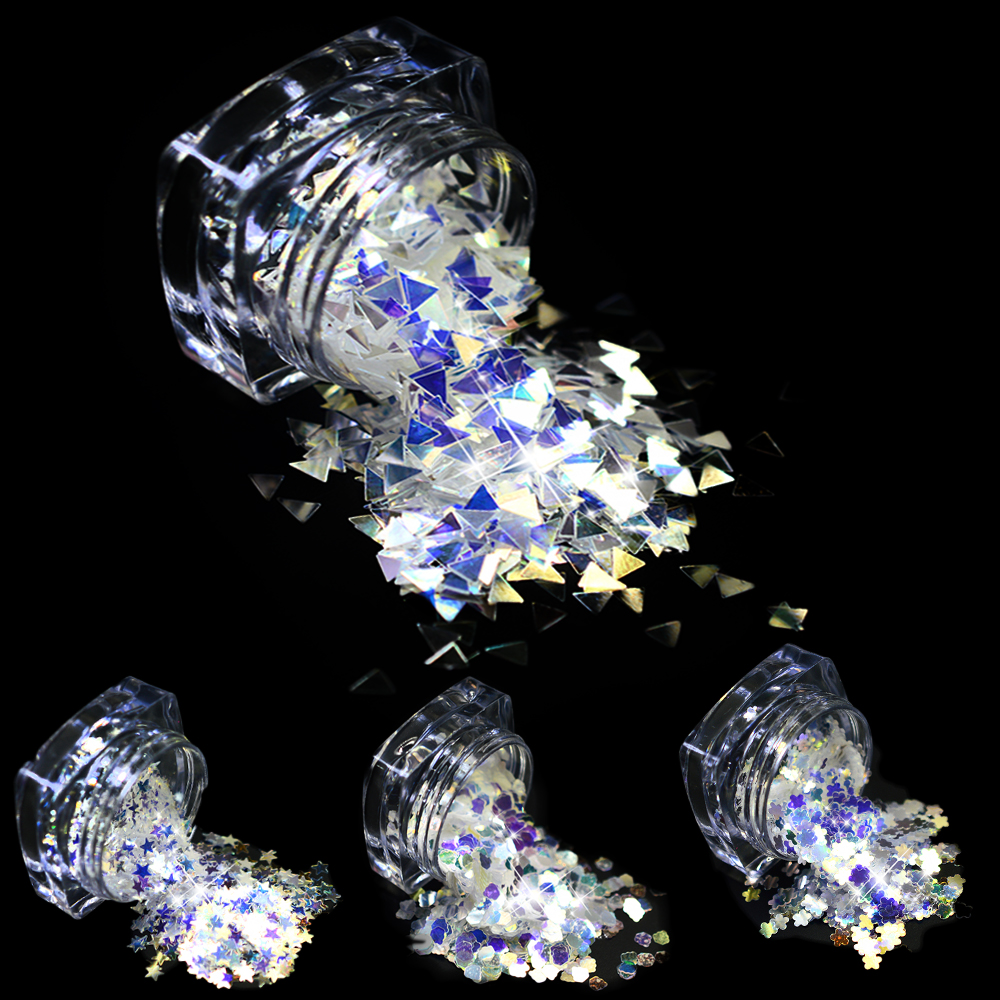 STZ 3g Nail Glitter Laser Sparkling Clear Nail Art Sequins Decoration Ultrathin 3mm DIY 4 Slice Design for Nails Tools SZ01-04