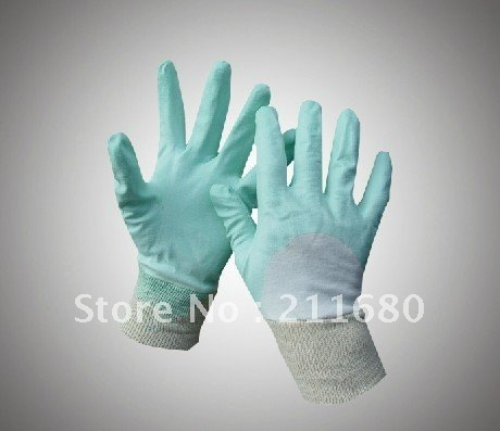 light blue color nitrile coated safety glove,interlock liner,open back and knit wrist Free shiping