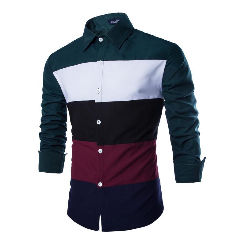2015 New Arrival Striped Shirt Men Fashion Slim Fit Multi