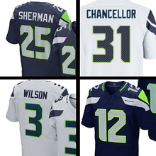 Shop Discount Mens Sherman Jerseys Fan Chancellor l Wilson College Navy Elite Jerseys Adult Embroidery Logos and 100% Stitched(China (Mainland))