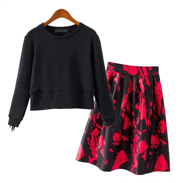 Women's Sets 2015 new fashion tassel three quarter sleeve tops warm pullovers printed flower midi skirts plus size - Joan and Davie store
