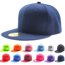 Adjustable Men Women Baseball Cap Solid Hip Hop Snapback Flat Peak Hat Visor