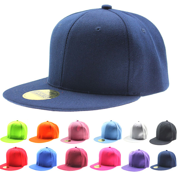 Adjustable Men Women Baseball Cap Solid Hip-Hop Snapback Flat Peak Hat Visor(China (Mainland))