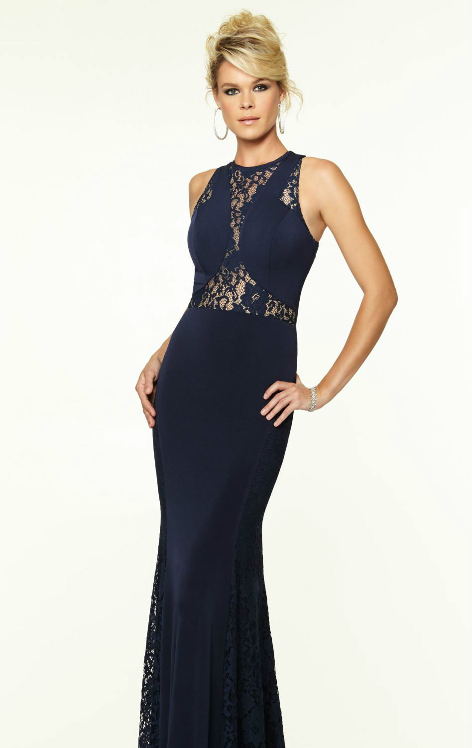 Navy blue long evening dress 2015 white prom dresses for Navy dresses for weddings