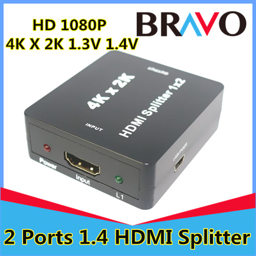 New Arrival!!! Mini HDMI Splitter 1x2 1.4V HDMI audio splitter 1 in 2 out HDMI switch switcher Full HD 1080P Support 3D 4K*2K(China (Mainland))