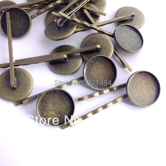 300pcs Antique bronze Hairpin hair bobby clip pin blank base 14mm bezel setting Wholesale<br><br>Aliexpress