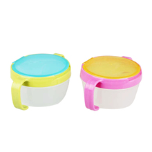 Solid Anti-spill Design Baby Double Handle Pot Snack Cup Baby Girls Boys Safty Dishes Biscuit Snack Bowl/Feeding Cup Made Of PP