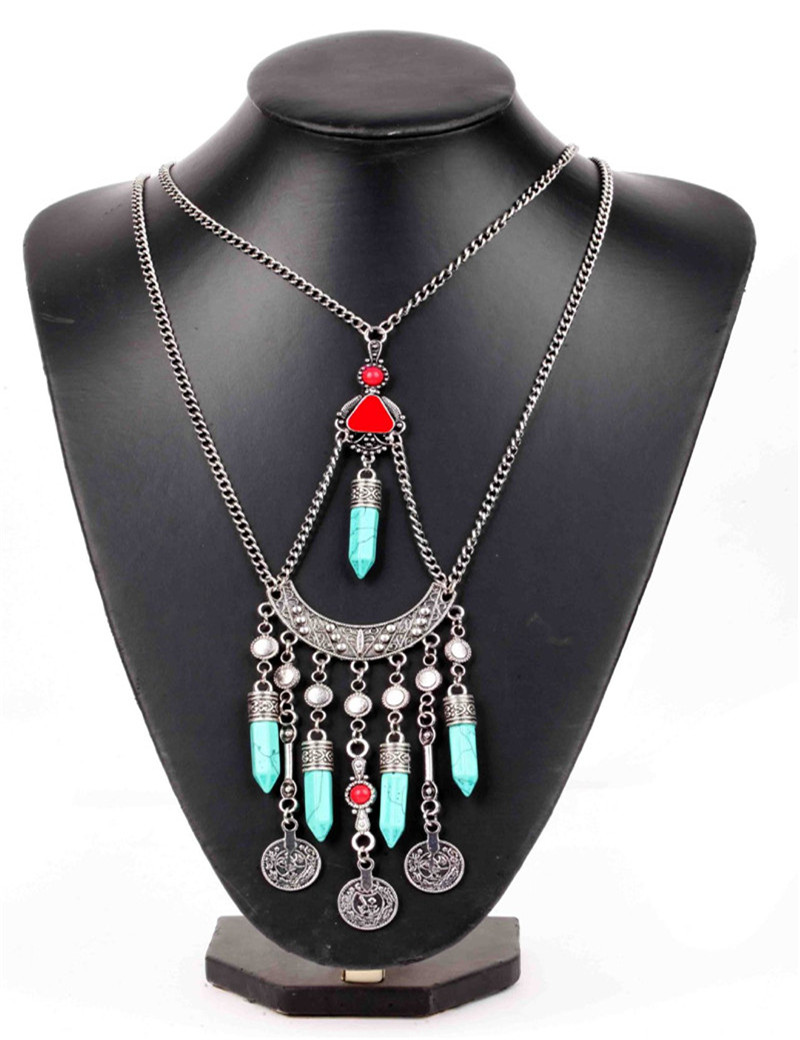 Bijoux American Vintage : Popular multi strand turquoise necklace buy cheap