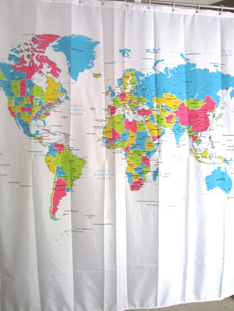 Treasure map shower curtain - World Map Curtains New Creative World Map Shower Curtain 180 180cm Bathroom Curtain Waterproof Polyester