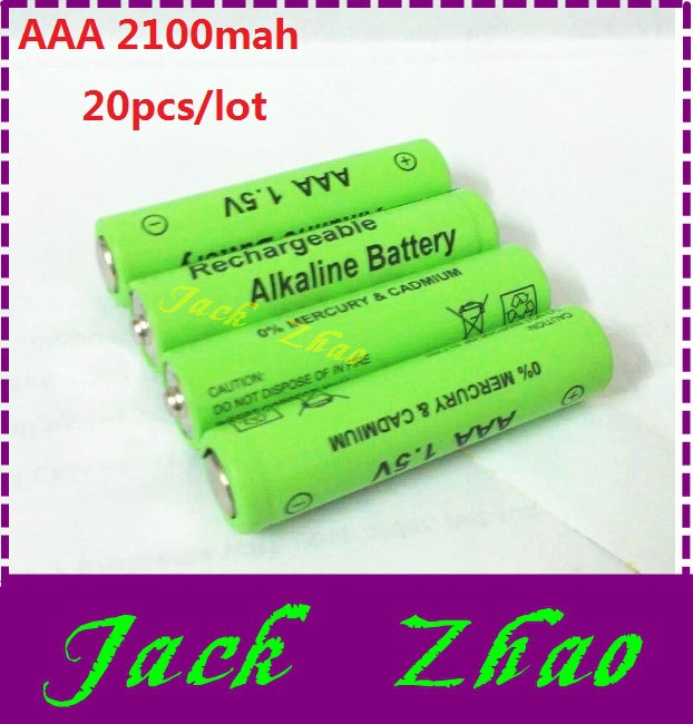Wholesale 20pcs/lot AAA Battery 2100mah 1.5V New Brand Alkaline aaa rechargeable battery for Remote Control Toy light Batery(China (Mainland))
