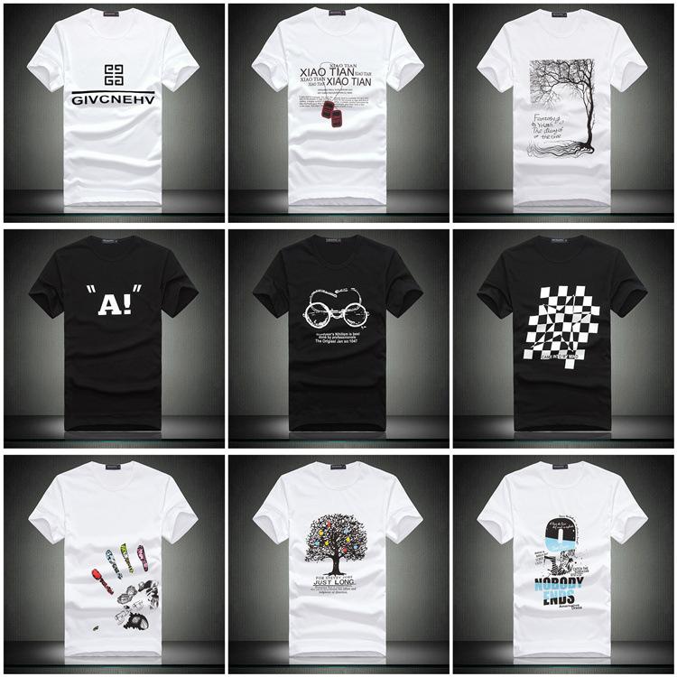 Men's Direct Selling Rushed Print Novelty Short Sleeve In Summer 2015 Mens Crewneck T-shirt Male Korean Slim Wholesale M236(China (Mainland))
