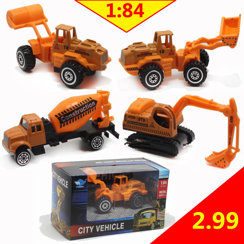 Discount 1:84 scale alloy engineering models, slide toy car, Excavators, forklifts, trucks,Children's educational toys,Wholesale(China (Mainland))