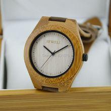 Hot Sale Top artículo de regalo de bambú del reloj con becerro venda del cuero genuino reloj de pulsera de lujo mira los relojes de bambú para los regalos de la mujer