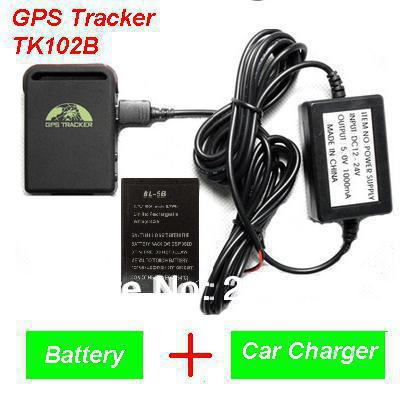 2013 New Arrival GPS Tracker TK102B + Car charger + Battery+Retail box, Free Shipping