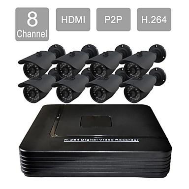 FKH 8 Channel HDMI CCTV DVR Outdoor/Indoor Vision Security Camera System Kit F276CDB08V - fan qinhai's store