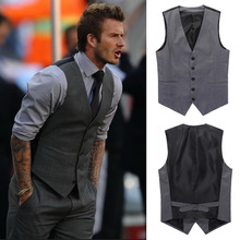 2015 Fashion High Quality Men Vest Mens Casual Wear Slim Suit V-necked Slim Fit Vests Gray/black M--XXL(China (Mainland))