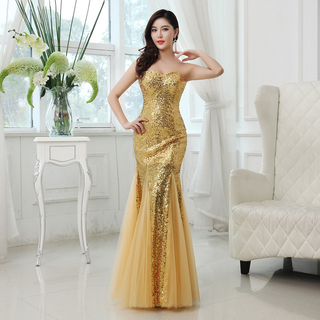 sexy sweetheart strapless gold sequined long mermaid prom