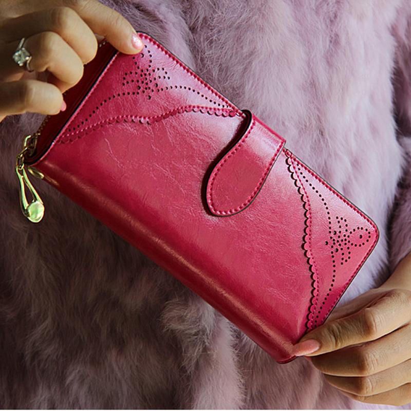 Royal Style Wallet for Women Purse Genuine Leather Women Wallets Large Zipper Long Wallet Women Phone Pouch Wrislet Purses(China (Mainland))