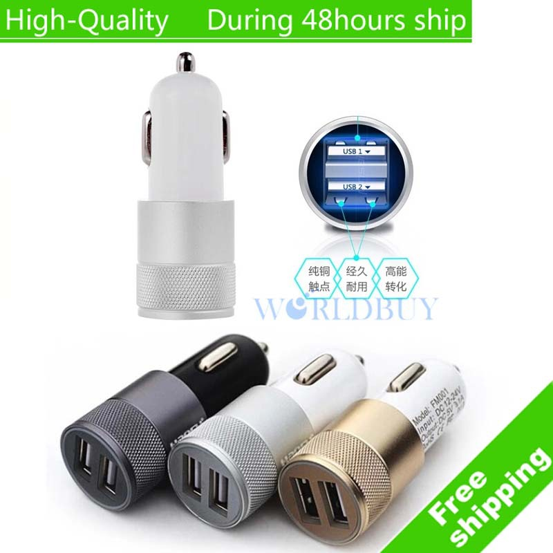 High Quality Mini Aluminum Universal 12V 2.1A Dual Usb Car Charger Adapter Cable For Mobile Cell Phones Tablet PC Free Shipping(China (Mainland))