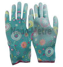 NMSafety 6 pairs high quality 13 guage flower print polyeaster liner coated PU practical gloves,lady gardening gloves,Fashion