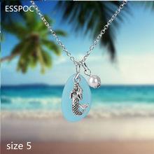 5 Estilo plata estrella de mar sirena mar colgante con forma de tortuga collar con animal bonito cadena larga resina collar Boho playa pareja collar(China)