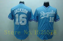 #16 Bo Jackson blue white 1980 throwback Baseball Jersey All Stitched size M-XXXL Free Shipping(China (Mainland))