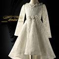 kids girls princess dress girl flower bow wedding spring autumn winter 2017 white baby teenage girls dresses long sleeve clothes