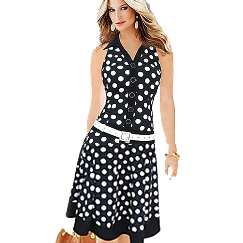 Buy Women Dresses New Fashion Print Dot Without Belt American Country Style