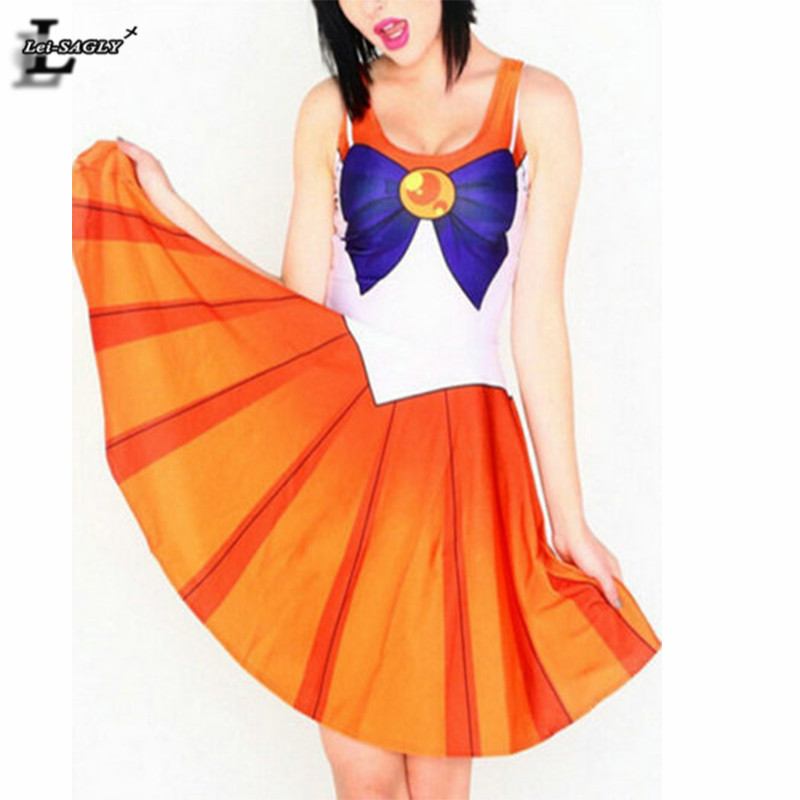 2016 Summer Style Orange Color Vestidos Sailor Moon Sleeveless Youth Clothing Lady Sexy Loose Elegant Skater Dresses BL-556(China (Mainland))