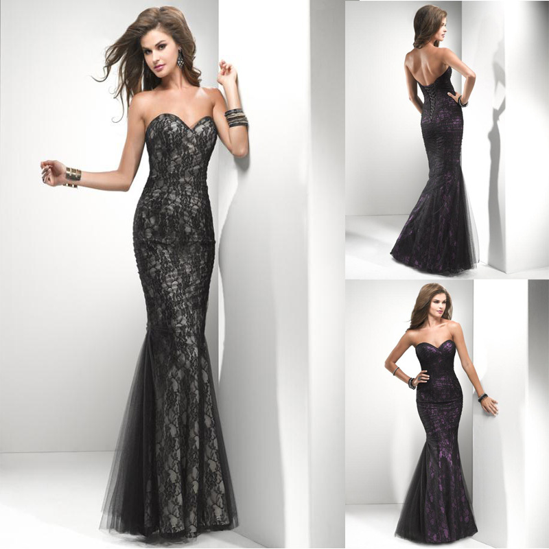 Aliexpress.com : Buy Unique Sweetheart Mermaid Corset Back Floor length Black Champagne And