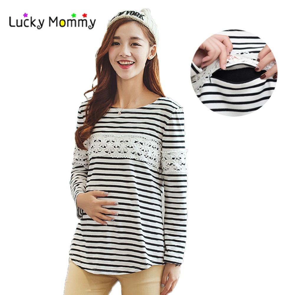 Autumn Winter Velvet Warm Winter Nursing Shirt Breastfeeding Tops Clothing Stripe Casual Nursing Top Breast Feeding Clothes<br><br>Aliexpress