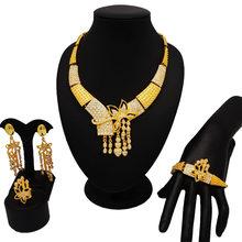 זהב ציפוי תכשיטי ses בסדר תכשיטי סטי נשים גדול שרשרת תכשיטי דובאי סטי כלה תכשיטי סטים(China)