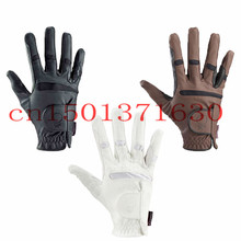 Black/Brown/White Adult Equestrian Horse Riding Gloves Equitacion Full finger Glove  Non-Slip wearproof  Protective(China (Mainland))