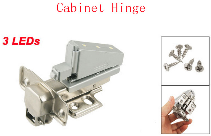 Best Promotion Wholesale Price Good Quality Furniture Cabinet Buffer Metal Concealed Cabinet Hinge w 3 LEDs 2 Pcs(China (Mainland))