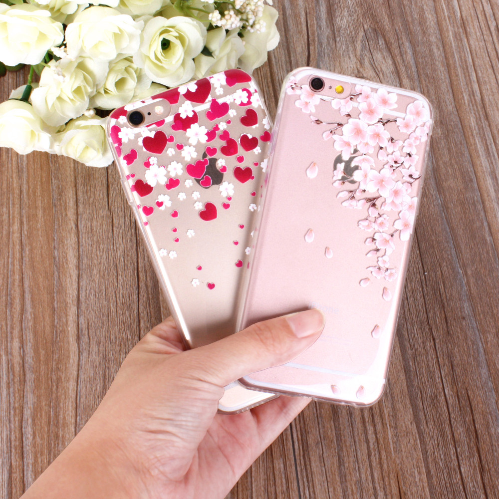 For iPhone 5 5S SE Phone Case Cute Beautiful Transparent Soft TPU Silicon Back Cover Romantic Gel Fashion Flower Tree Paint New