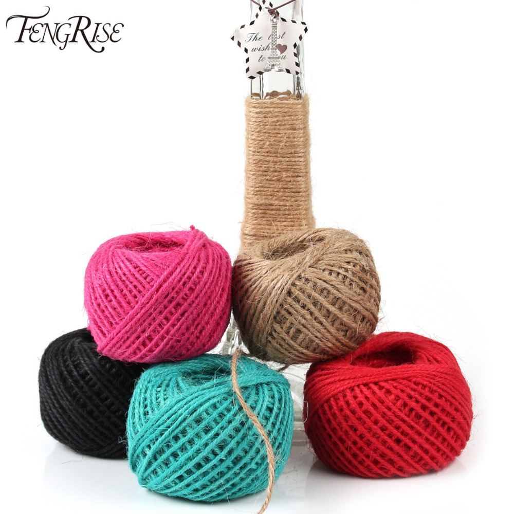 Fengrise jute twine 50m natural sisal rope 2mm rustic tags for Sisal decoration