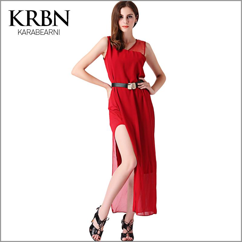 womens summer dresses 2015 summer style plus size women clothing red black sleeveless sashes chiffon sexy slit maxi dress Q-92(China (Mainland))