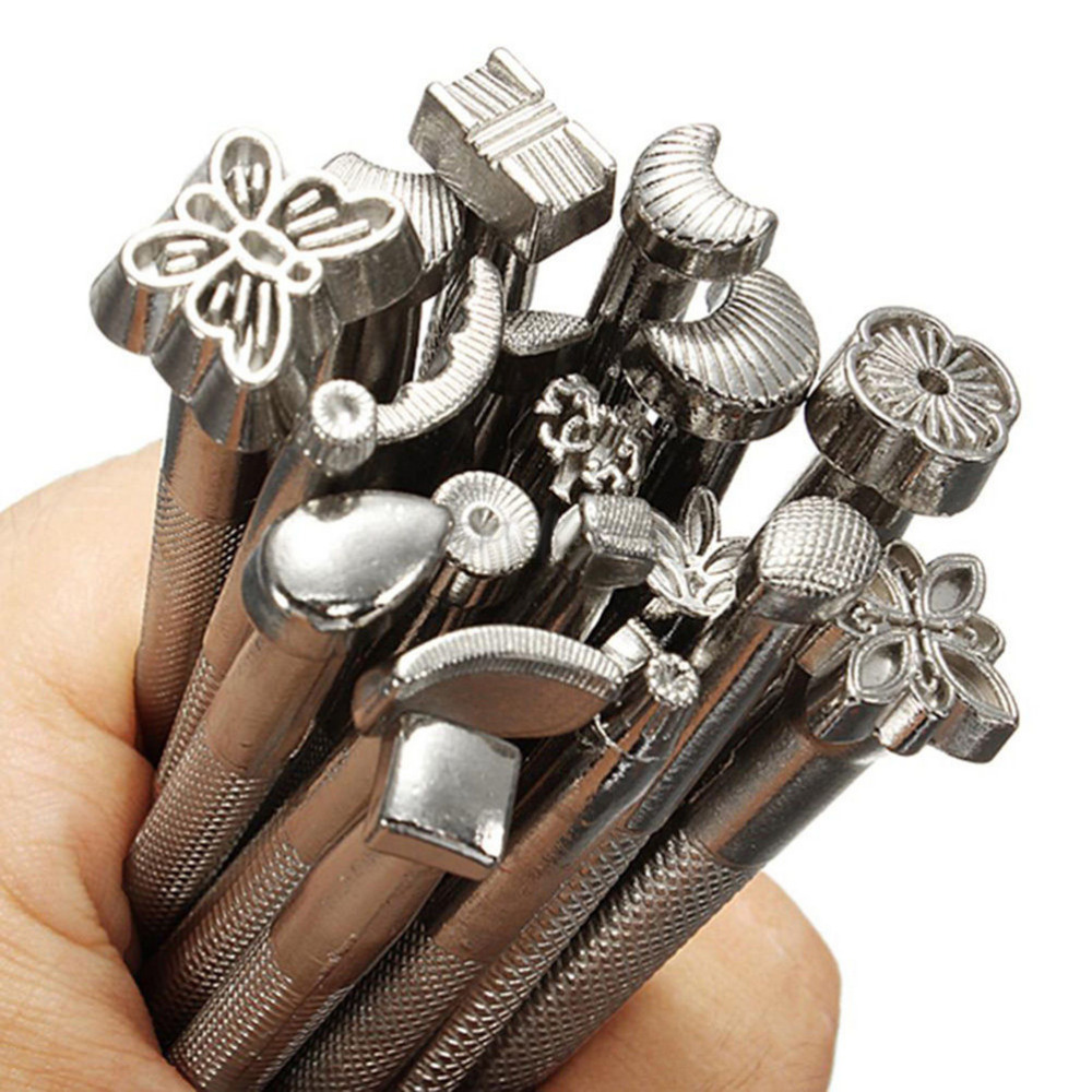 Leather Tools 20pcs/LOT Carving Leather Craft Stamps Set Craft DIY Leather Working Saddle Making Tools Set