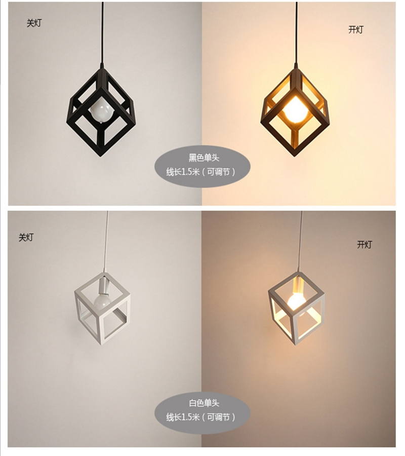 Square iron art restaurant chandelier, creative American country restaurant bar counter lamp<br><br>Aliexpress