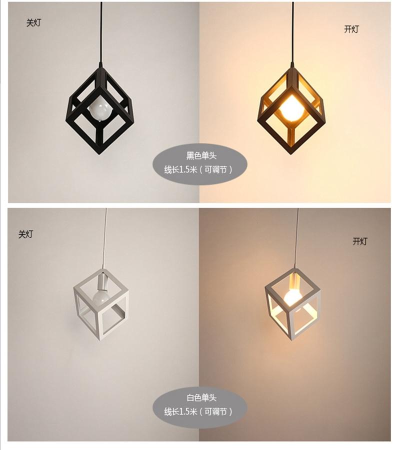 Square iron art restaurant light, creative American country restaurant/ bar counter e27 modern pendant light for dining room(China (Mainland))