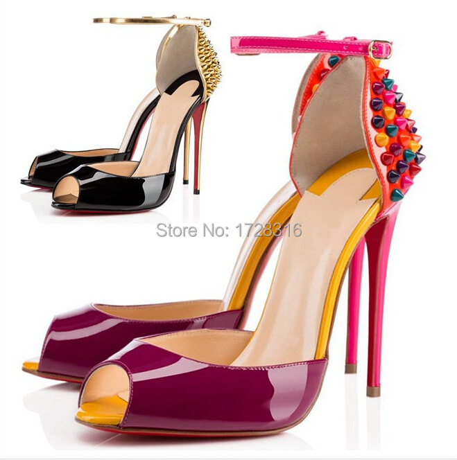 Ankle Buckle Strap Women Shoes High Heel Colorful Rivets Pumps Famous Brand Genuine Leather Sapatos Femininos Peep Toe - Super VIP shoe store
