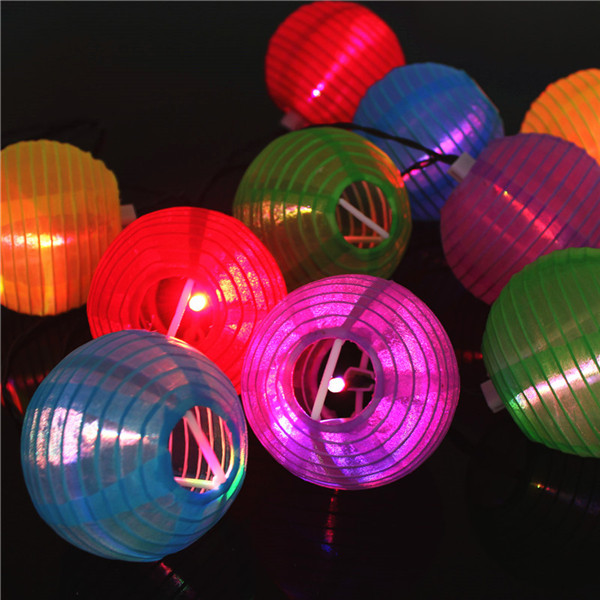 LED Solar Chinese Lantern Garden String Lights Lamp