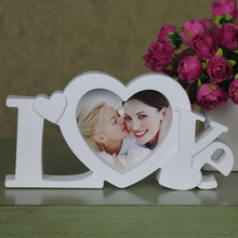 "Pure Love Photo Frame White Heart  Shape  With One Picture 4x4"" For New Baby And Sweet Lover Gift(China (Mainland))"