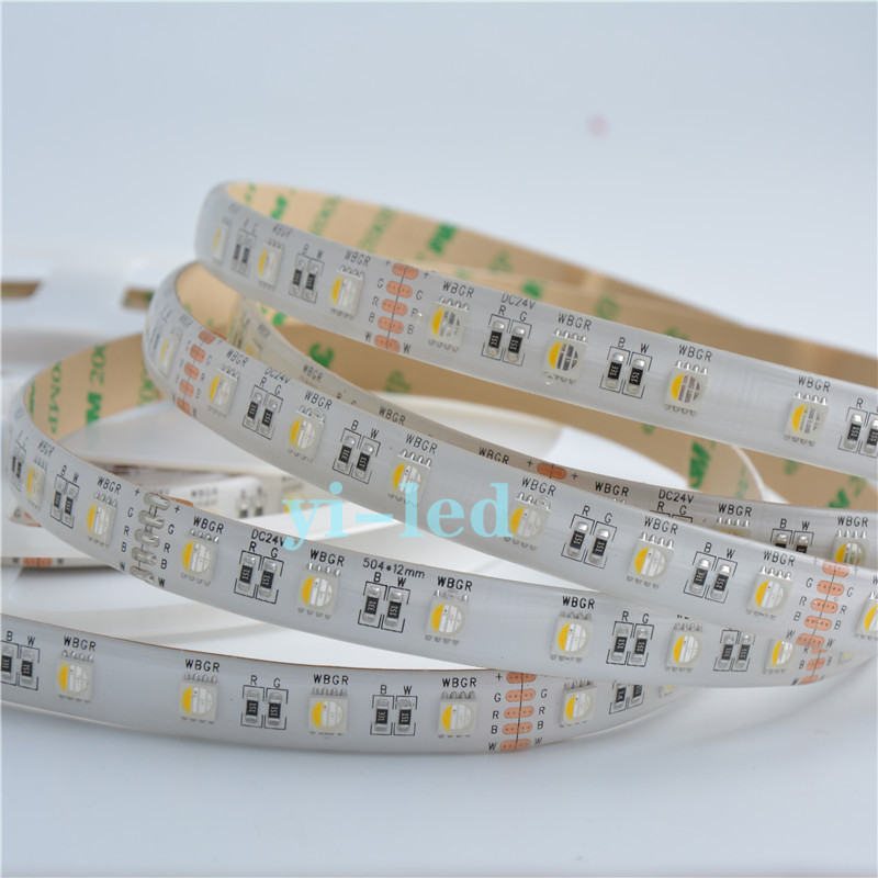Wholesale 5M DC24V 4 Colors in 1 LED 5050 RGBW White PCB LED Strip Light RGB+ White / Warm White Waterproof IP65 12MM PCB(China (Mainland))
