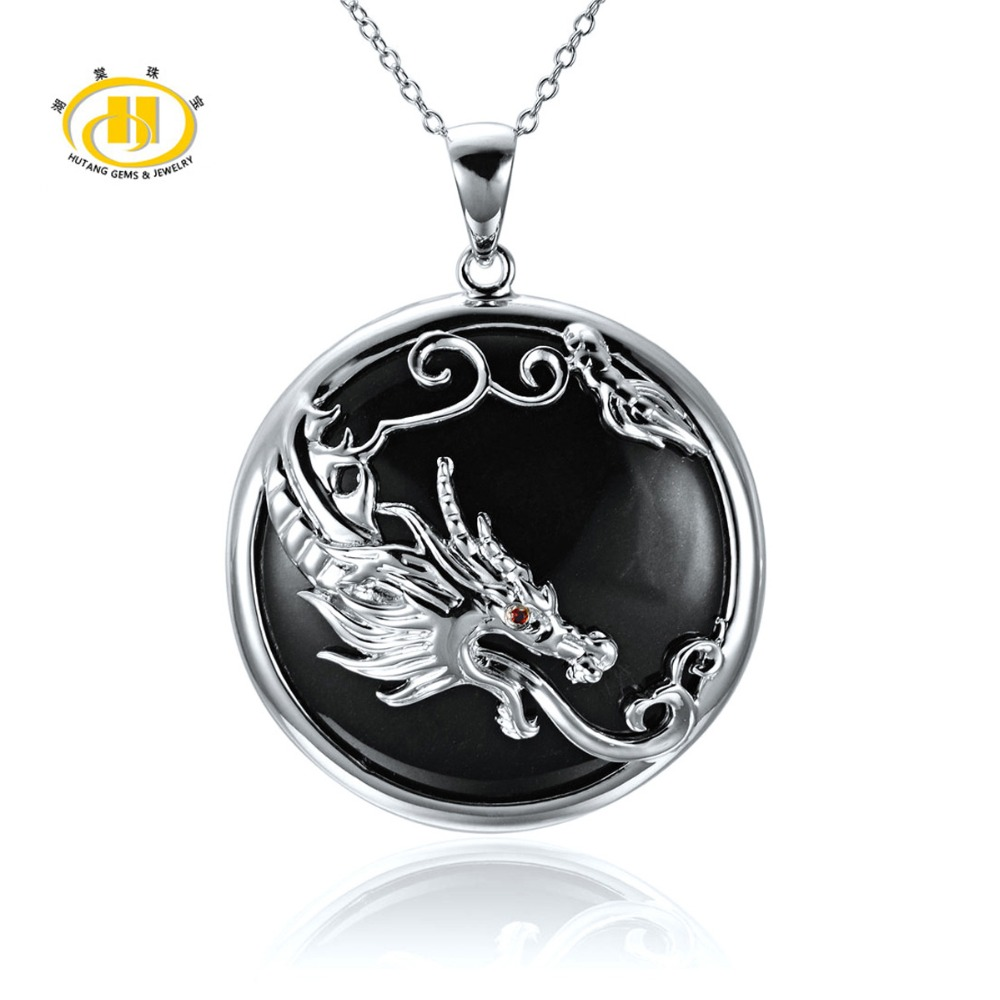 Black Jade &amp; Chinese Zodiac Dragon Solid 925 Sterling Silver Pendant Necklace For Christmas Gift 18 <br>