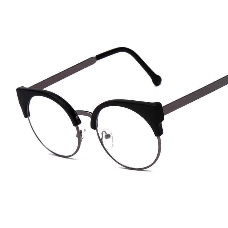 Fashion Women Brand Designer Cat's Eye Glasses Half Frame Cat Eye Glasses Women Eyeglasses Frames High quality Grau F15010