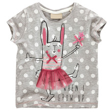2016 Brand New Summer Kids Tshirt Cotton Jersey allover Rabbit print Short Sleeves girls baby T shirts Next Style Girl Clothes