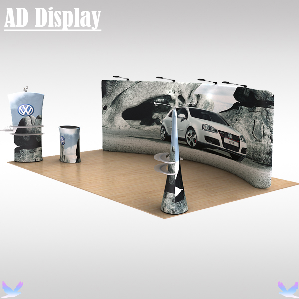 20ft*10ft Tradeshow Booth Advertising Tension Fabric Backwall With Graphics,High Quality Portable Stretch Banner Display Exhibit(China (Mainland))