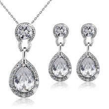 Foreign trade luxury fashion Platinum- plated Crystal high-end jewelry drop wedding necklace earring set pinarello dogma(China (Mainland))